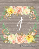 Farmhouse Wood and Floral Monogram Printable