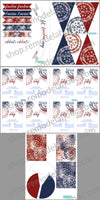 red white and blue 4th of July patriotic party printable pack with invitations cupcake toppers party favors