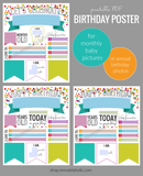 colorful custom printable birthday poster for yearly photos or monthly baby pictures