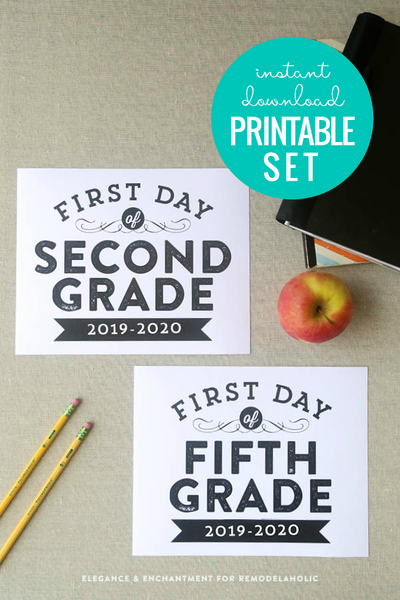 printable modern first and last day of school photos signs