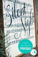 Silent Night handlettered printable vintages christmas sheet music art