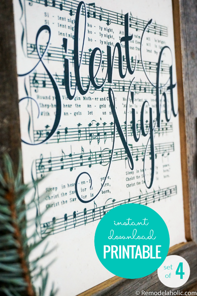 Printable Vintage Christmas Sheet Music Art (Set of 4)