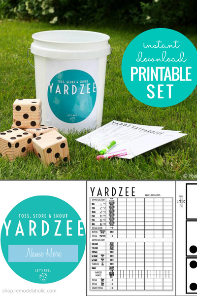 Printable Yardzee Game Score Card and Storage Bucket Label
