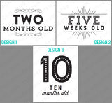 black and white printable baby monthly milestone cards
