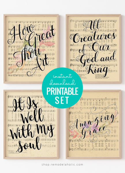 printable vintage sheet music art, Easter hymns with watercolor flowers