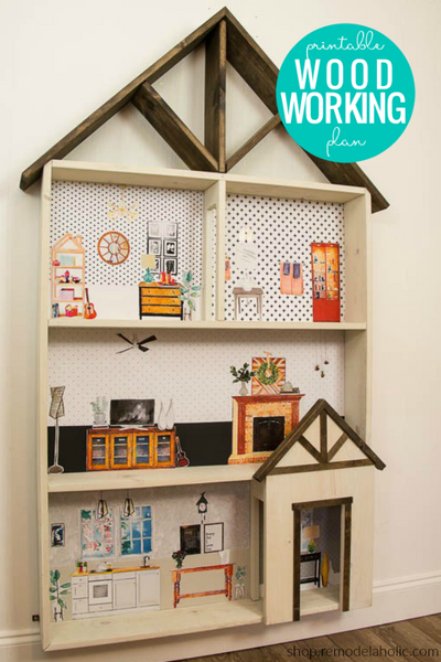 DIY Dollhouse Bookcase Woodworking Plans + Printable Furniture