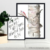Personalized Carved Birch Tree Printable Art Bundle