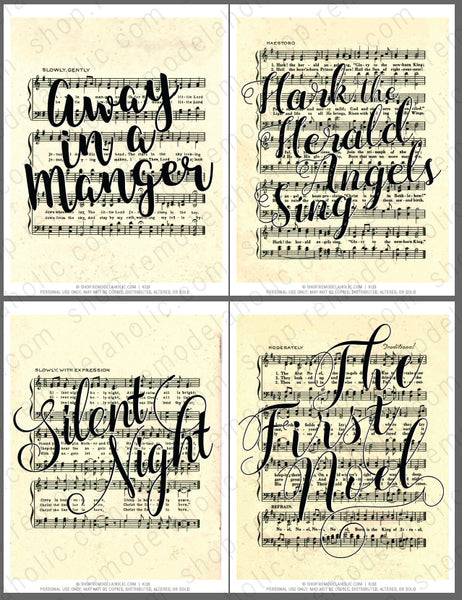 black handlettered songs on vintage Christmas sheet music art printables