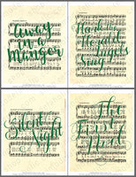 green handlettered songs on vintage Christmas sheet music art printables