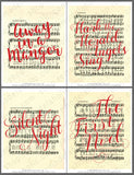 red handlettered songs on vintage Christmas sheet music art printables