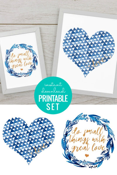 Gold Foil and Blue Heart Love Printable Set