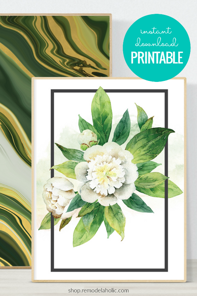 Watercolor White Floral Wall Art Printable