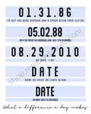 Personalized Important Date Art Printable Set for Anniversary and Birthdays