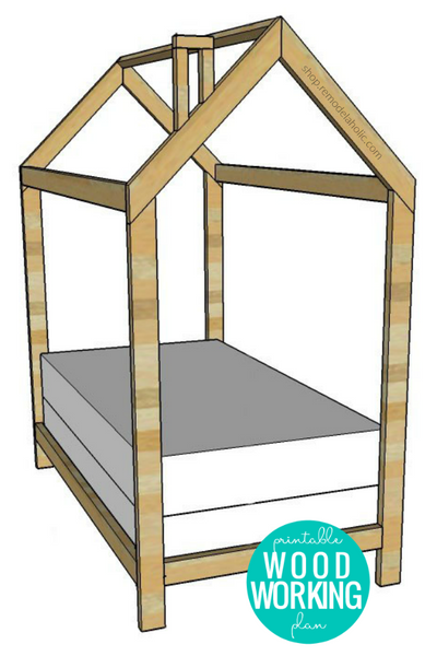 DIY House Bed Frame Woodworking Plan - Twin Size + Trundle Bed