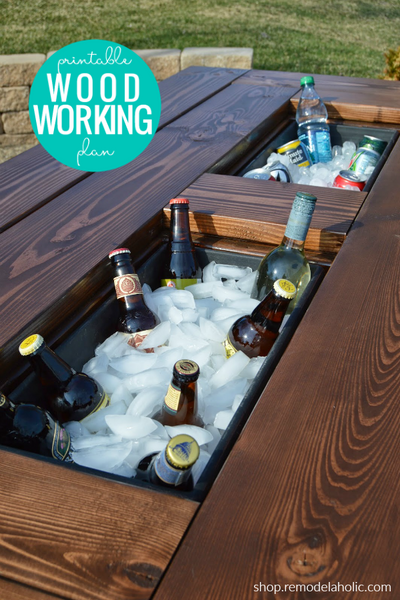 DIY Patio Table with Built-In Ice Box Drink Coolers + Matching Benches