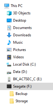 Windows File Explorer view of backup USB drive