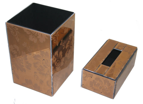 Mirror Bin and Tissue box Set - Gold/Bronze