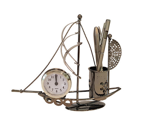 Penholder - Small boat and clock (WS-812)