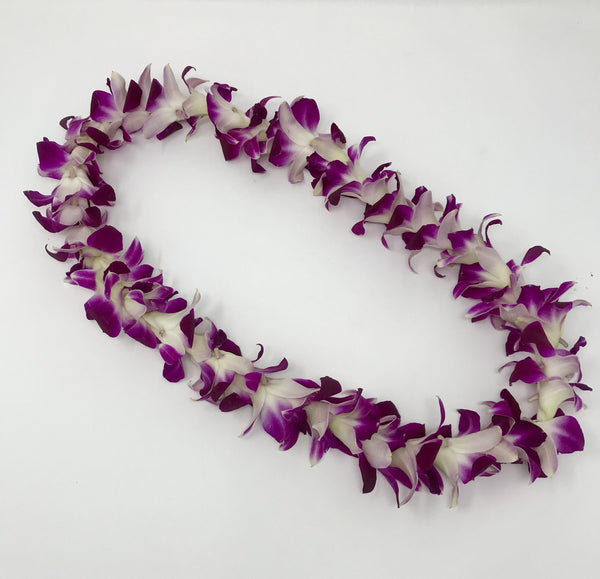 Pre-Made Single Orchid Purple Lei - Poni Honi - Leilanis Leis