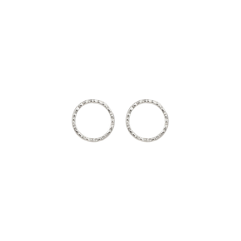set gold white earrings circle stud open diamond