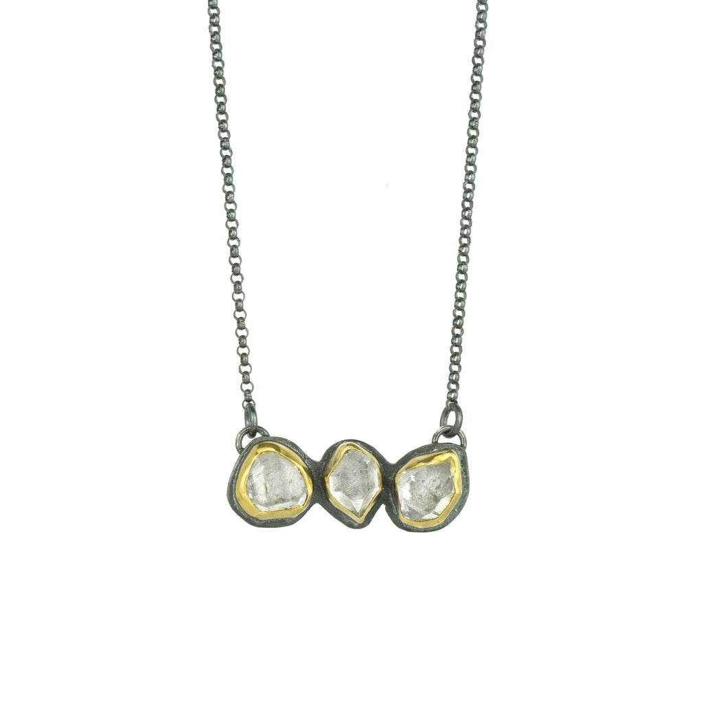 Herkimer Diamond + 22k 3 Stone Glacier Necklace