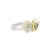 Herkimer Diamond + 22k Gold 3 Stone Glacier Ring