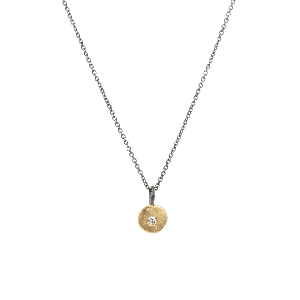 Pebble Diamond Pendant in 22k Gold