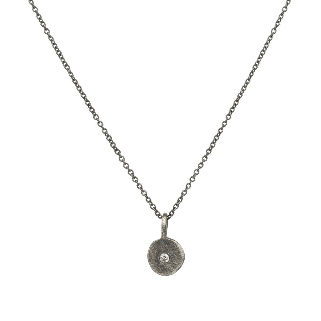 Pebble Diamond Pendant in Silver