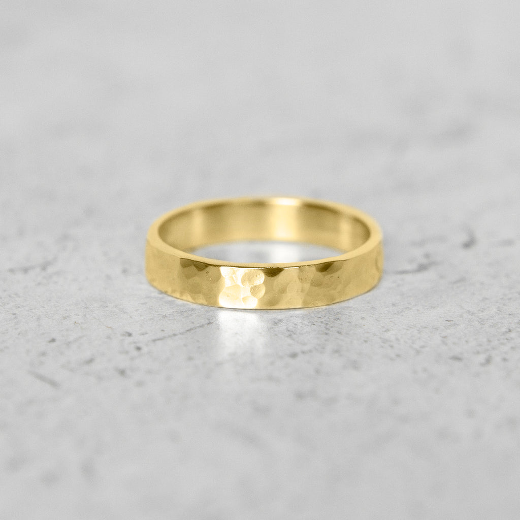 Hammered Flat Band in 14k Gold - 4mm