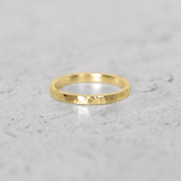 Hammered Flat Band in 14k Gold - 2mm