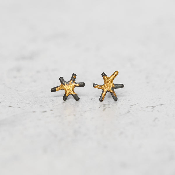 Sol Stud Earrings - 24k Gold + Oxidized Sterling Silver