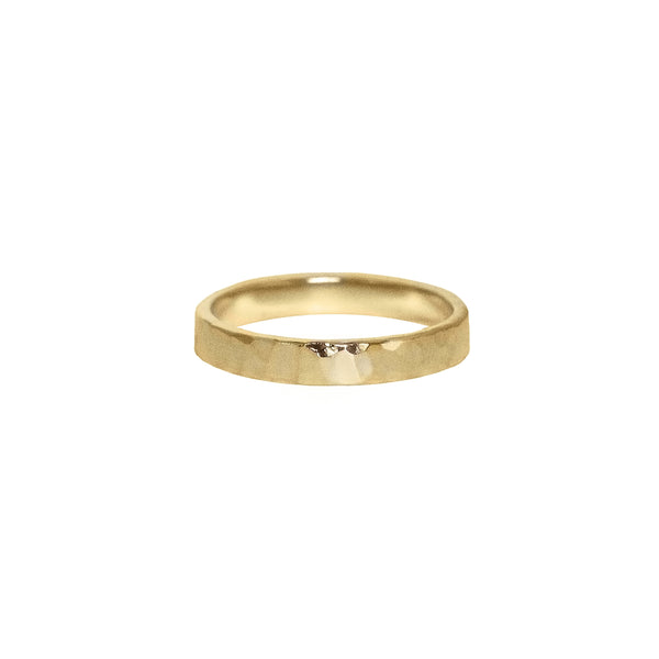 Hammered Flat Band in 14k Gold - 3mm