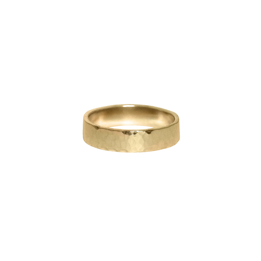 Hammered Flat Band in 14k Gold - 5mm