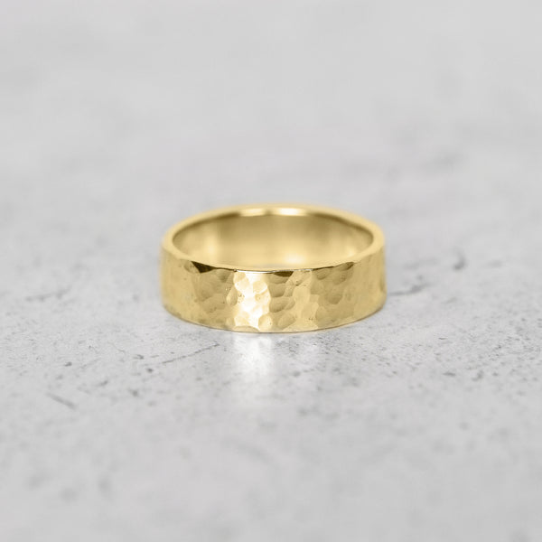 Hammered Flat Band in 14k Gold - 6mm