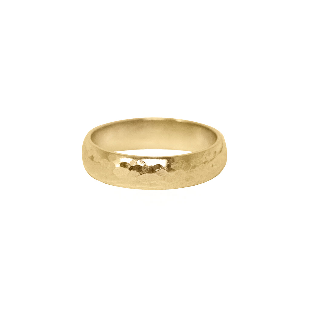 Hammered Half Round Band in 14k Gold - 5mm