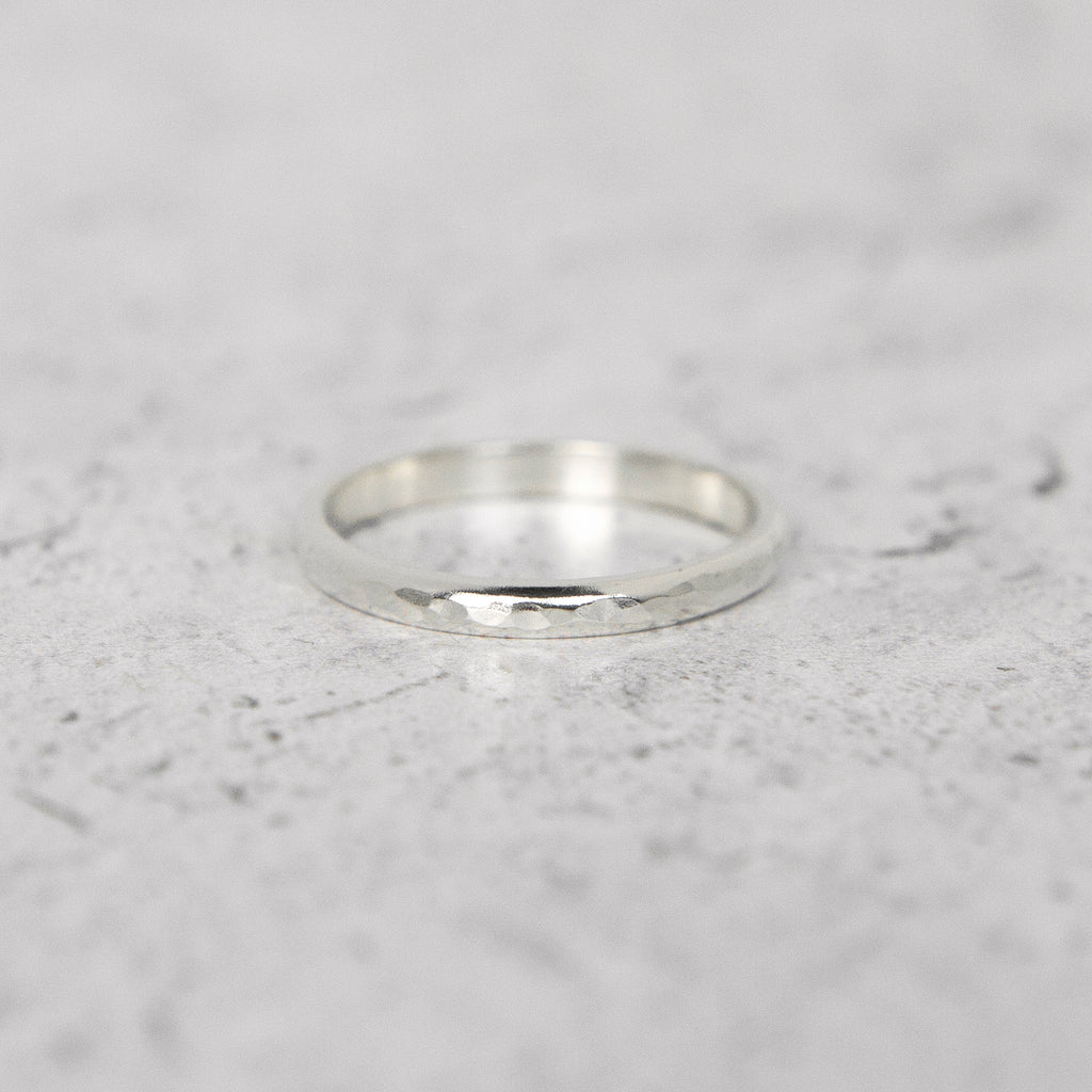 Hammered Half Round Band in Sterling Silver