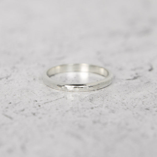 Hammered Half Round Band in 14k Gold - 2mm