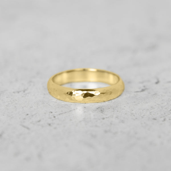 Hammered Half Round Band in 14k Gold - 4mm