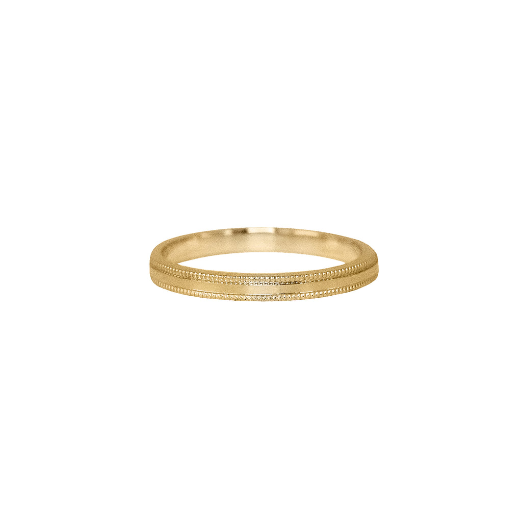 Milgrain Flat Band in 14k Gold - 2mm