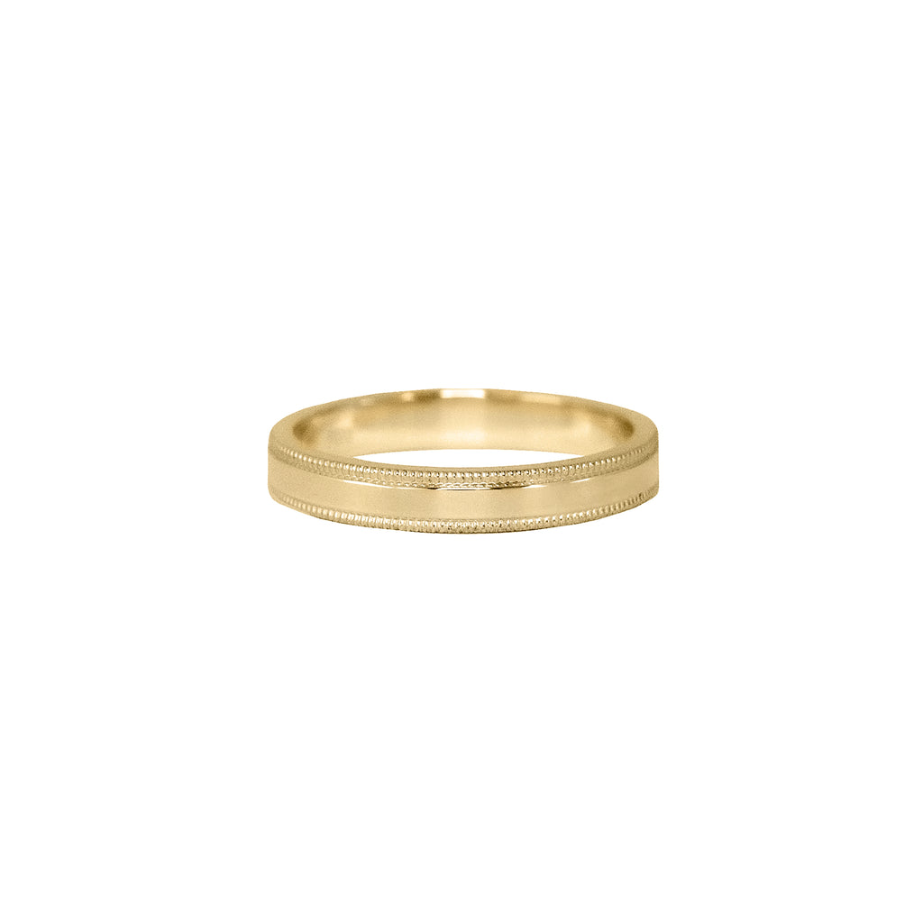 Milgrain Flat Band in 14k Gold - 3mm