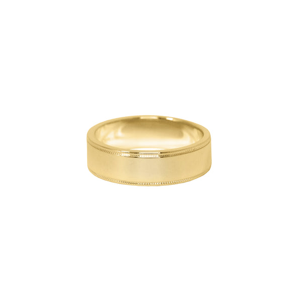 Milgrain Flat Band in 14k Gold - 6mm