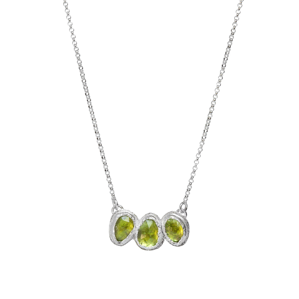 Peridot Trilogy Necklace in Sterling Silver