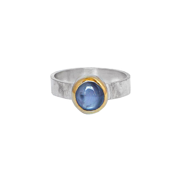 Star Sapphire Ring - Blue Star Sapphire in 14k Gold + Sterling Silver No.2