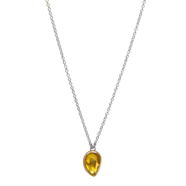 Rose Cut Sapphire Necklace - Yellow Sapphire in 14k Gold + Sterling Silver