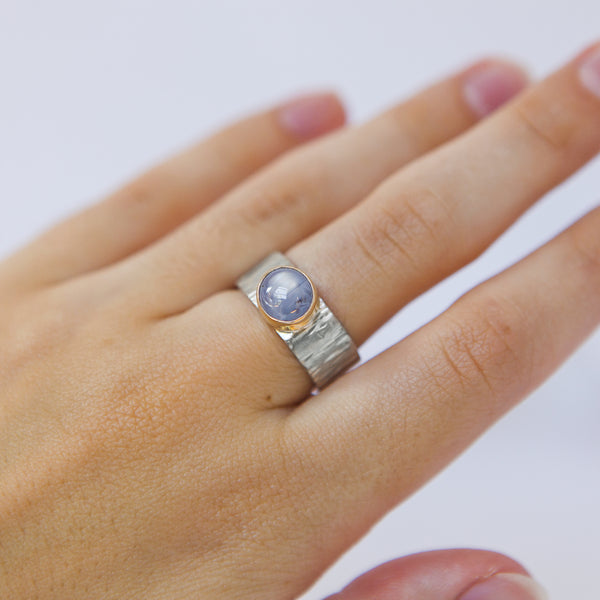 Star Sapphire Ring - Blue Star Sapphire in 14k Gold + Sterling Silver No.1