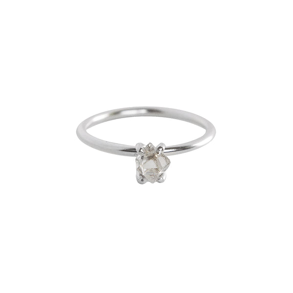 Mini Herkimer Diamond Stacking Ring in Silver