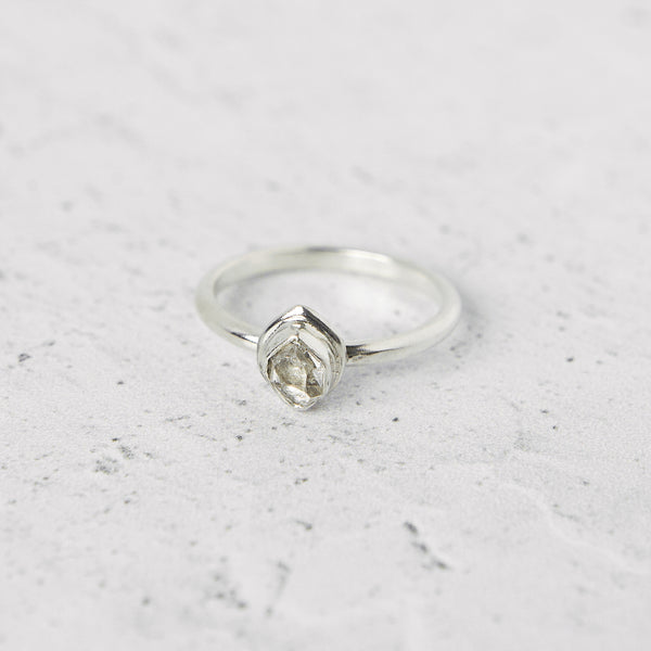Mini Herkimer Diamond Glacier Ring in Sterling Silver