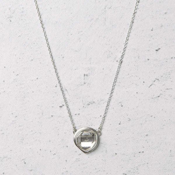 Herkimer Diamond East-West Glacier Necklace in Sterling Silver