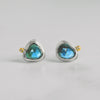 November Stud Earrings - London Blue Topaz + Diamond