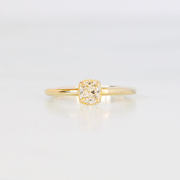Oak Ring - .64ct Vintage Old Mine Cut Diamond in 14k Yellow Gold